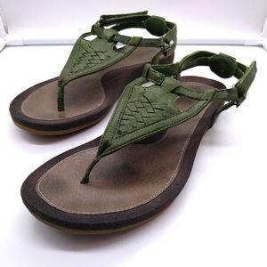 Teva 'Capri' Green Leather Woven Sandals Women's 7